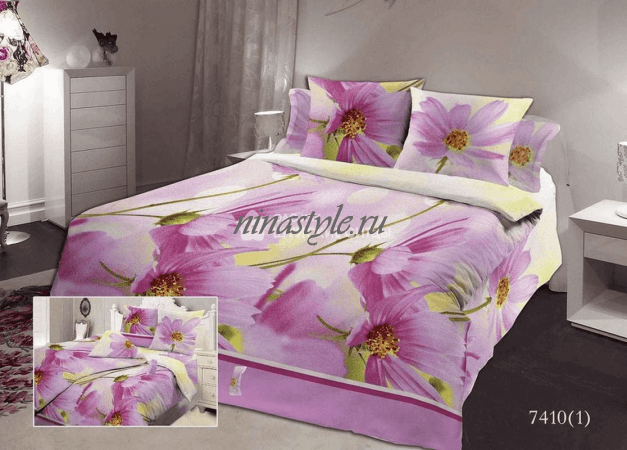 "КПБ Бязь Шуя ""Фиолетовые цветы"" о/м"